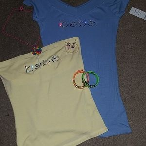 2 Bebe Logo Shirts w/Necklace,bracelet & Earrings